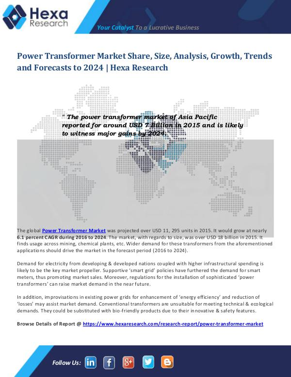 Semiconductors & Electronics Industry Power Transformer Market 2024