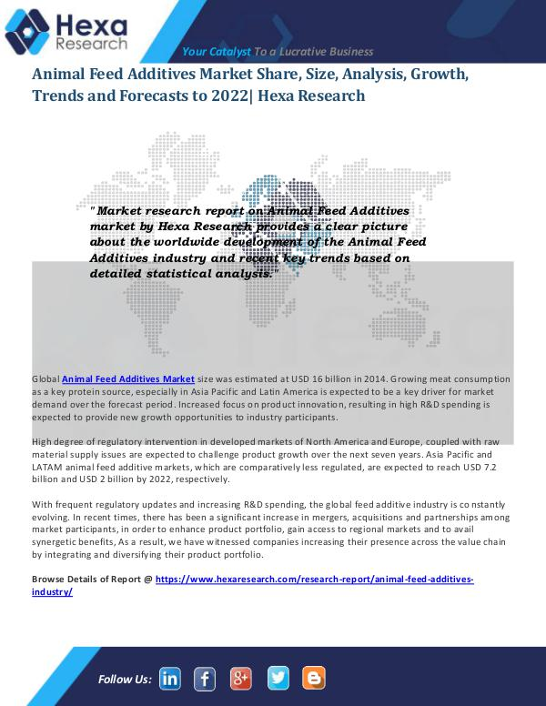 Food and Beverages Industry Report Animal Feed Additives Market Trends
