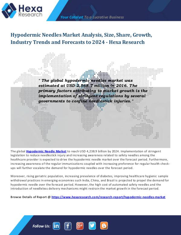 Hypodermic Needles Market Analysis
