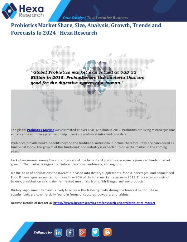 Food and Beverages Industry Report Probiotics Market Analysis