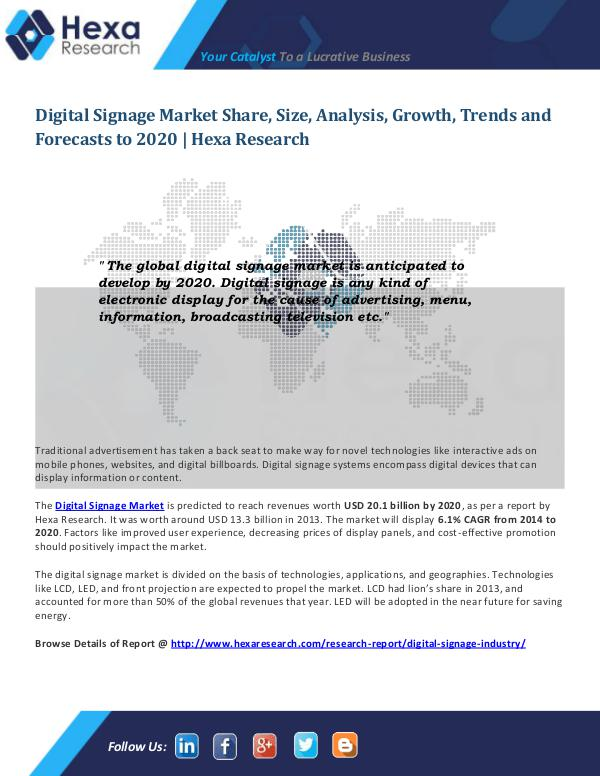 Digital Signage Market Outlook