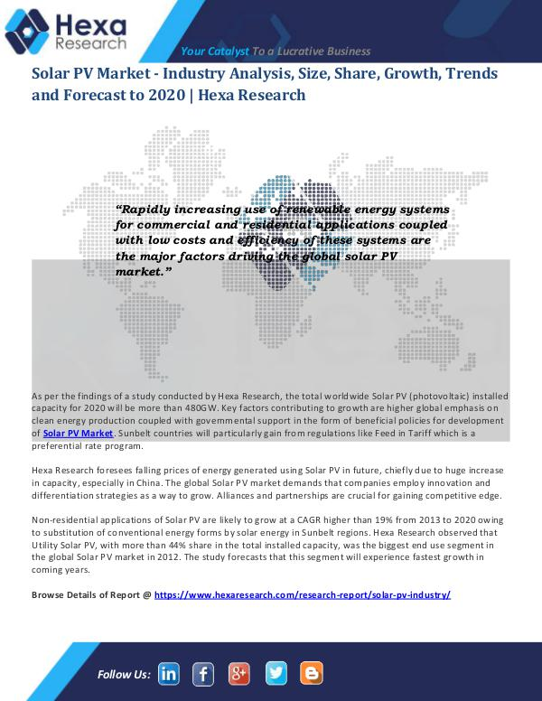 Energy & Power Industry Reports Solar PV Market Applications