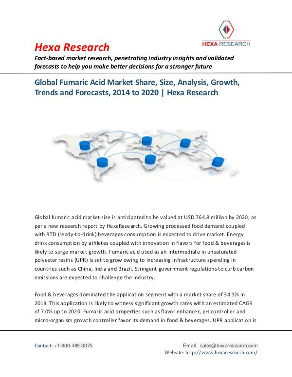 Fumaric Acid Market Research Report, 2020