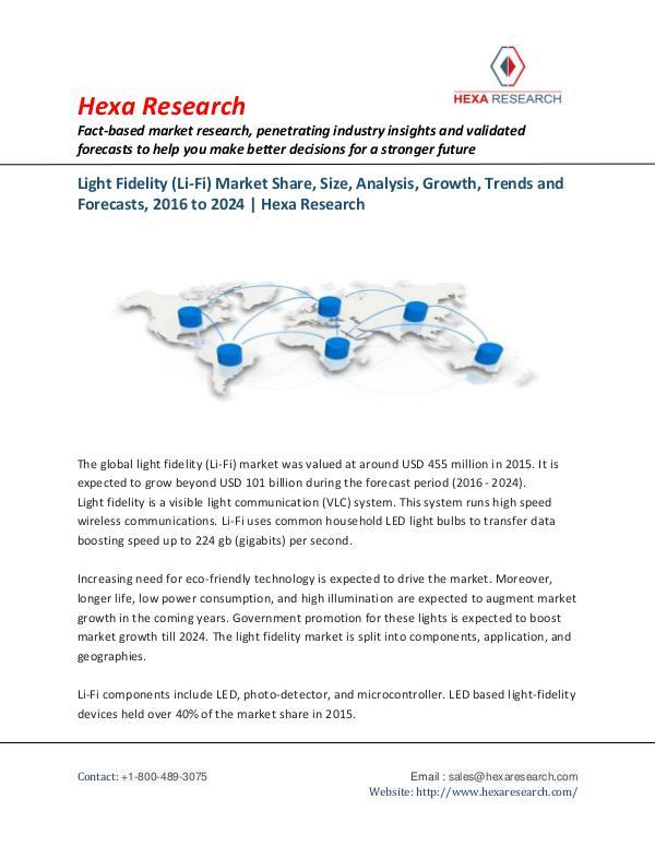 Light Fidelity (Li-Fi) Market Research, 2016-2024