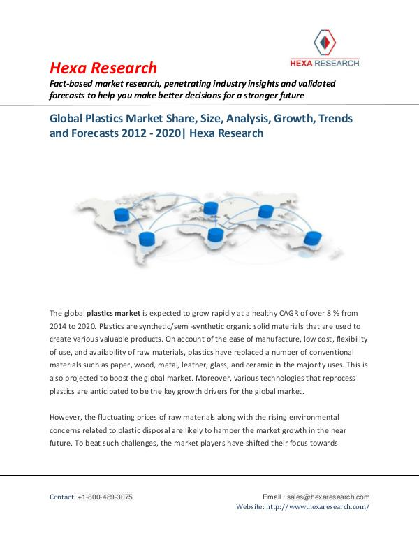 Plastics Market Growth, Trends and Forecasts, 2020
