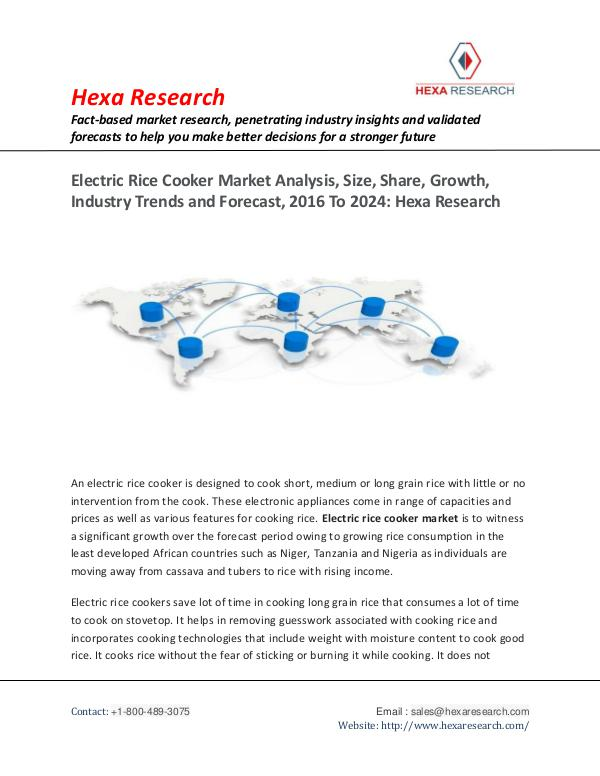 Semiconductors & Electronics Industry Electric Rice Cooker Market Insights to 2024