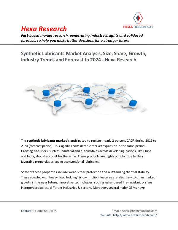 Synthetic Lubricants Market Share, Size & Forecast