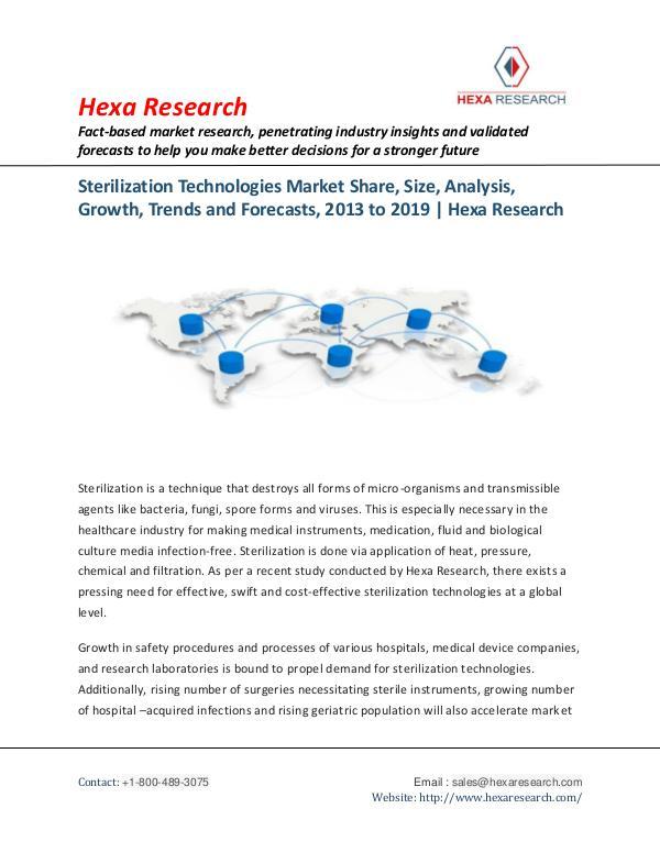Healthcare Industry Sterilization Technologies Market Insights, 2019