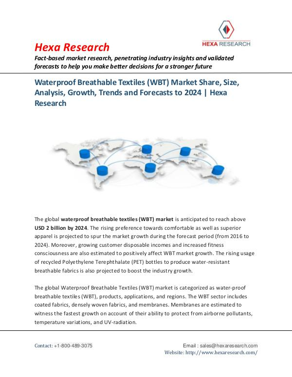 Advanced Materials Industry Waterproof Breathable Textiles Market, 2024
