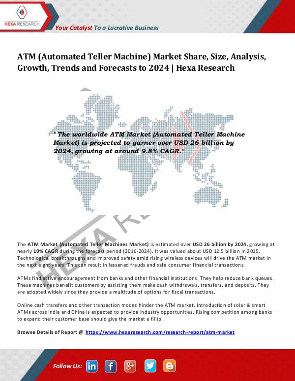 Technology ATM Market Growth, Trends and Forecasts to 2024