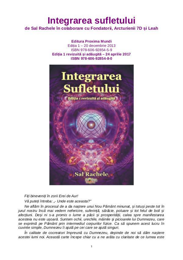 Carti publicate de Editura Proxima Mundi Integrarea Sufletului Ed.1 ad.&rev.,de Sal Rachele