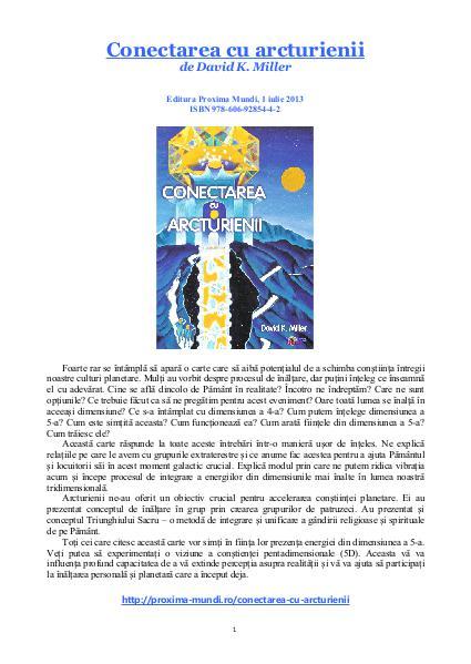 Carti publicate de Editura Proxima Mundi Conectarea cu arcturienii, de David Miller