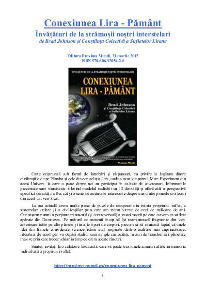 Carti publicate de Editura Proxima Mundi Conexiunea Lira-Pământ, de Brad Johnson