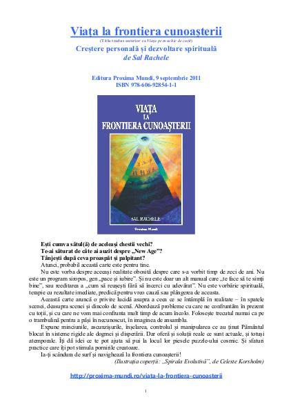 Carti publicate de Editura Proxima Mundi Viața la frontiera cunoașterii, de Sal Rachele