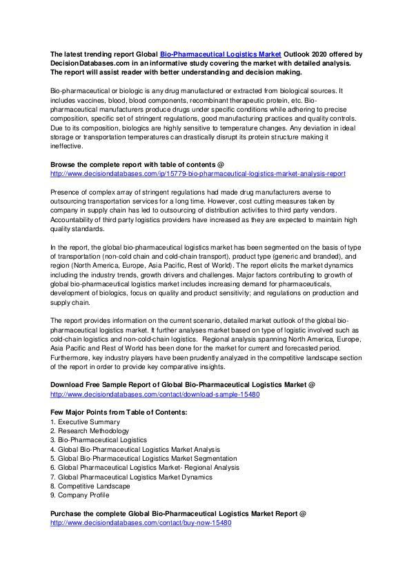 Global Bio-Pharmaceutical Logistics Market Share