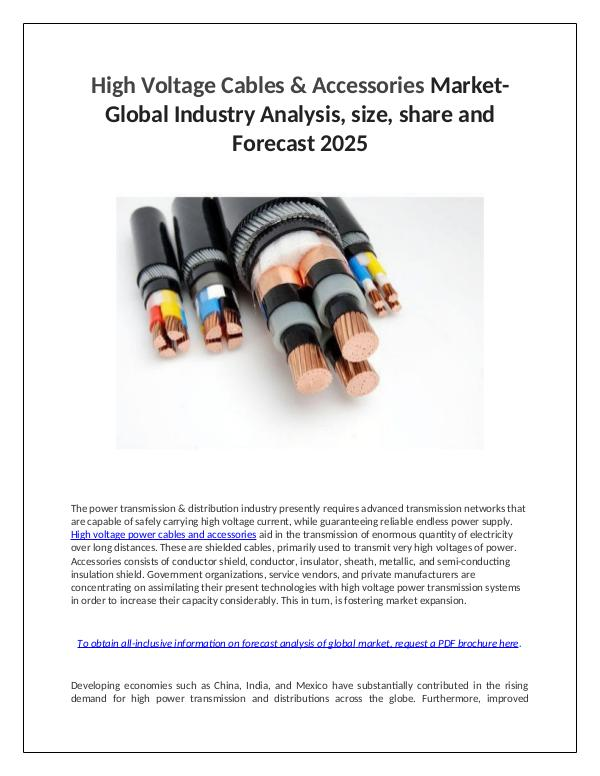 Market Research High Voltage Cables & Accessories Market