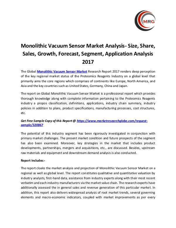 Monolithic Vacuum Sensor Market Analysis- Size, Sh