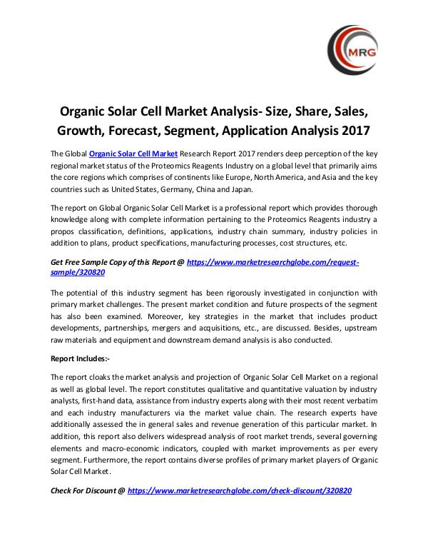 QY Research Groups Organic Solar Cell Market Analysis- Size, Share, S