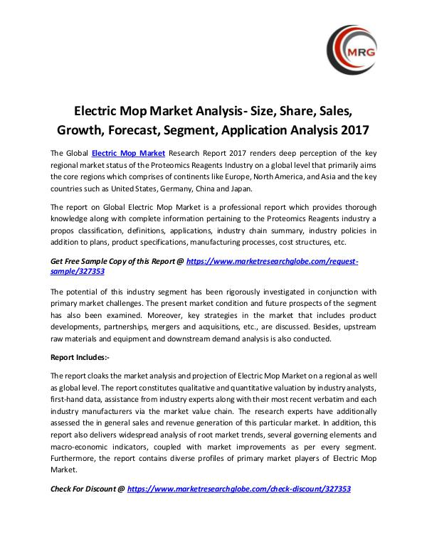 QY Research Groups Electric Mop Market Analysis- Size, Share, Sales,