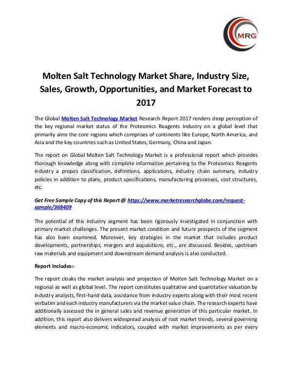 QY Research Groups Molten Salt Technology Market Share, Industry Size