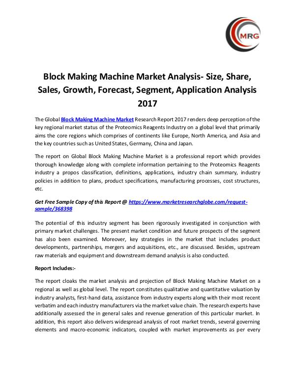 QY Research Groups Block Making Machine Market Analysis- Size, Share,