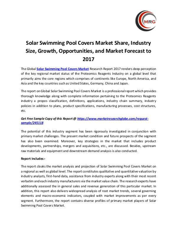 Solar Swimming Pool Covers Market Share, Industry