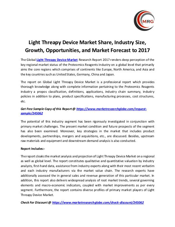 Light Threapy Device Market Share, Industry Size,