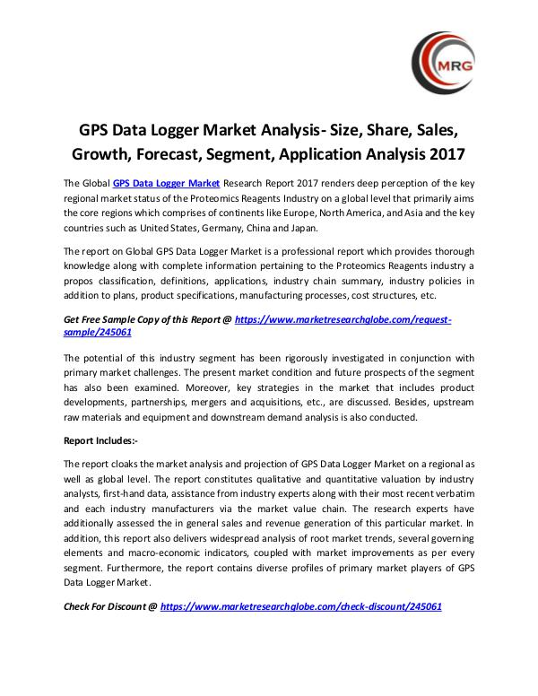 GPS Data Logger Market Analysis- Size, Share, Sale