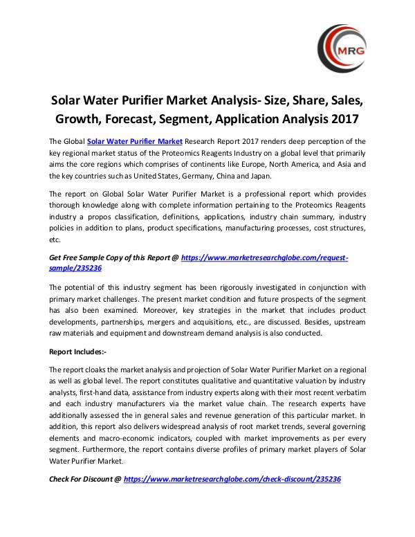 Solar Water Purifier Market Analysis- Size, Share,