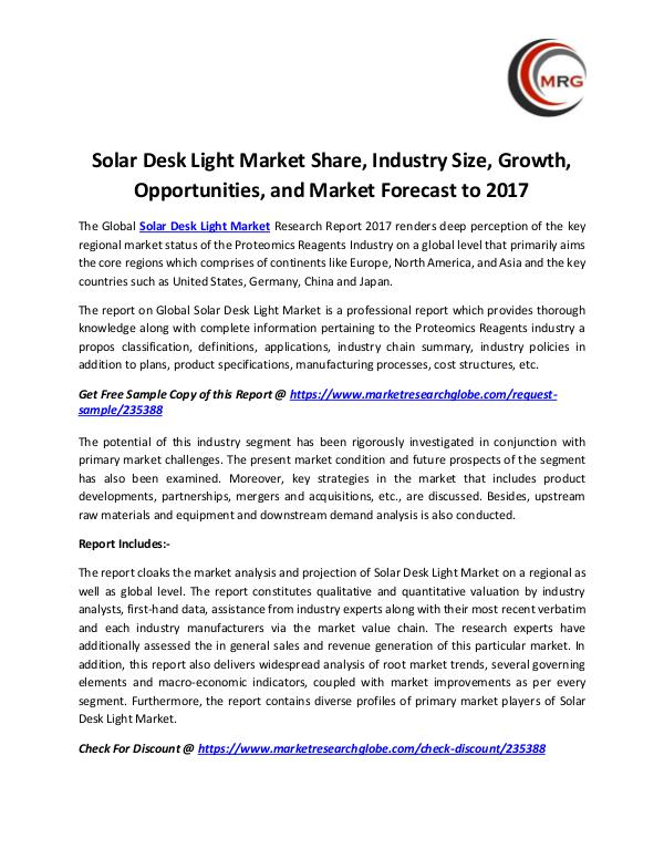 QY Research Groups Solar Desk Light Market Share, Industry Size, Grow