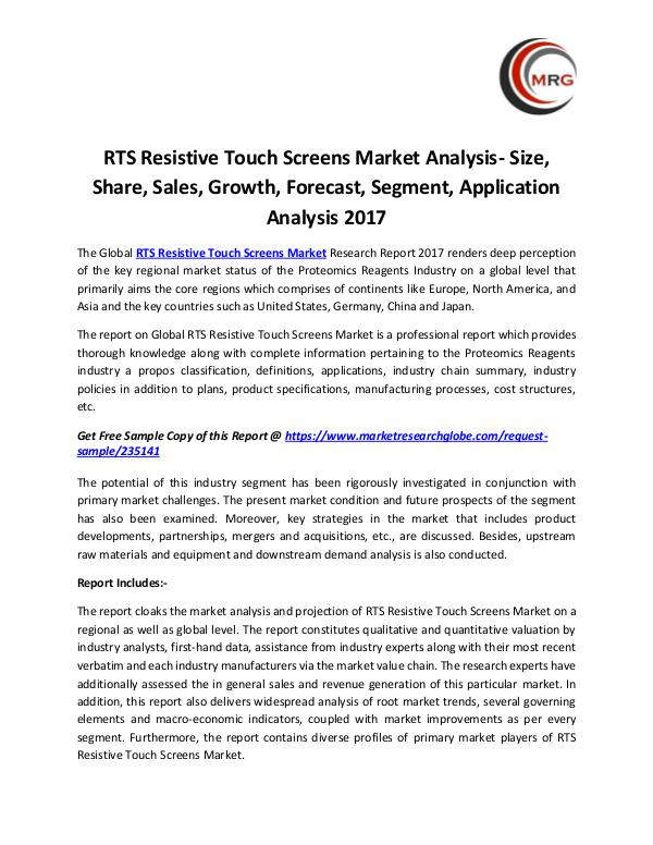 RTS Resistive Touch Screens Market Analysis- Size,