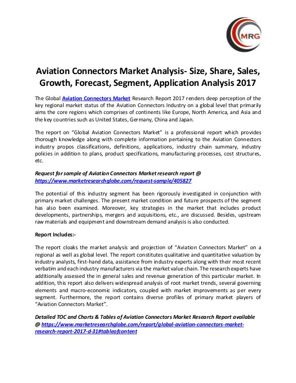 Aviation Connectors Market Analysis- Size, Share,