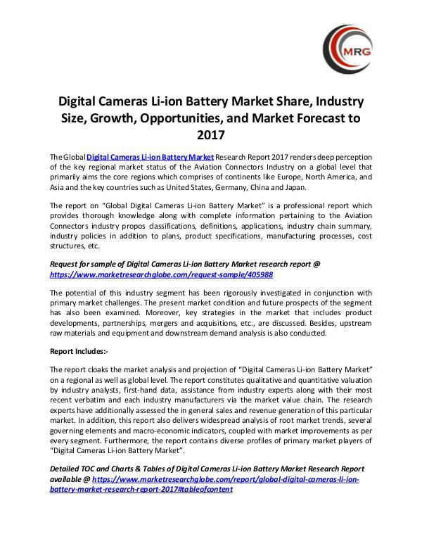 Digital Cameras Li-ion Battery Market Share, Indus