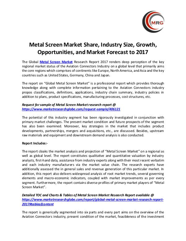 Metal Screen Market Share, Industry Size, Growth,