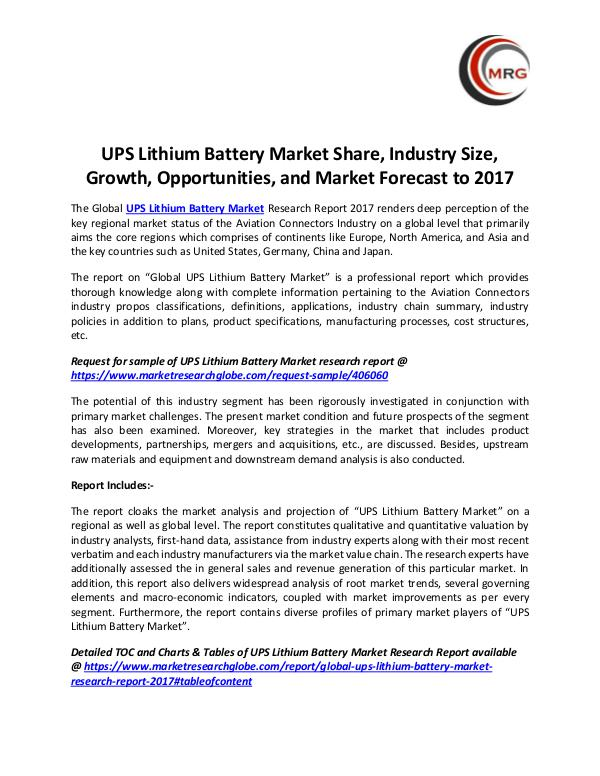 UPS Lithium Battery Market Share, Industry Size, G