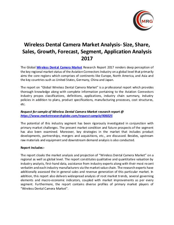 QY Research Groups Wireless Dental Camera Market Analysis- Size, Shar