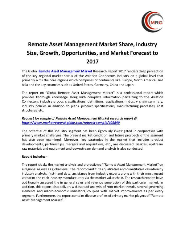 Remote Asset Management Market Share, Industry Siz