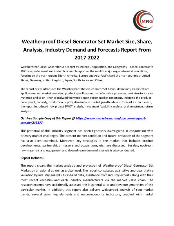 QY Research Groups Weatherproof Diesel Generator Set Market Size, Sha