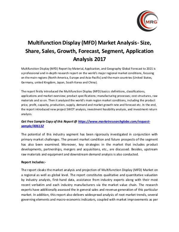 QY Research Groups Multifunction Display (MFD) Market Analysis- Size,