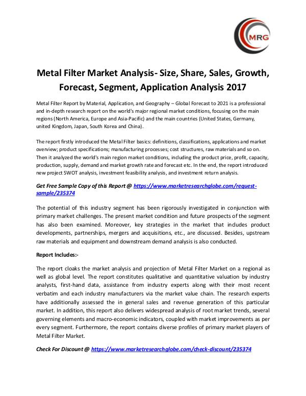 QY Research Groups Metal Filter Market Analysis- Size, Share, Sales,