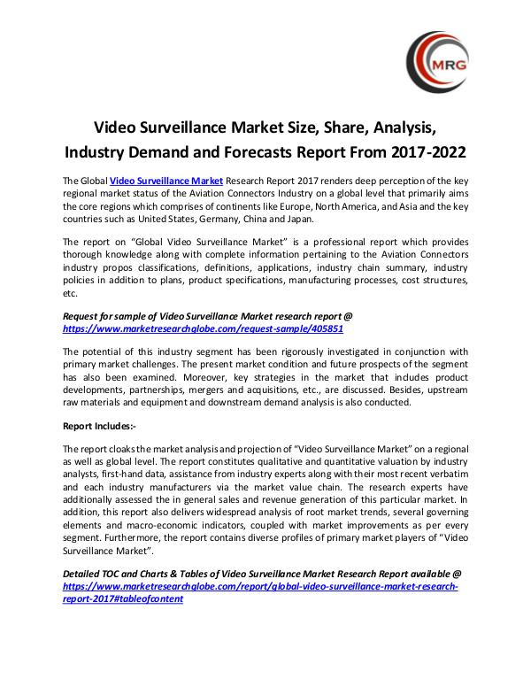QY Research Groups Video Surveillance Market Size, Share, Analysis, I