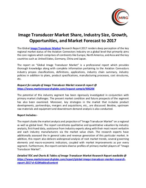 QY Research Groups Image Transducer Market Share, Industry Size, Grow