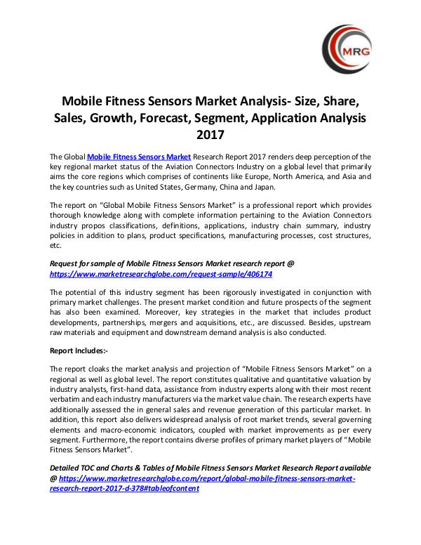 QY Research Groups Mobile Fitness Sensors Market Analysis- Size, Shar