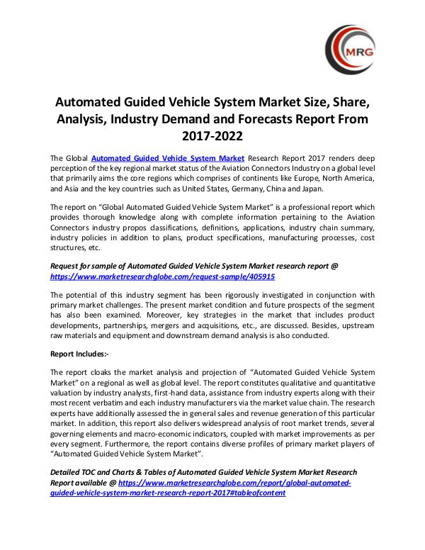 Automated Guided Vehicle System Market Size, Share