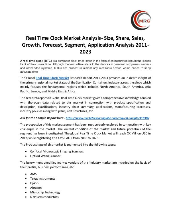 Real Time Clock Market Analysis- Size, Share, Sale
