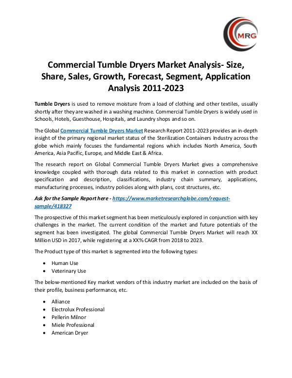 Commercial Tumble Dryers Market Analysis- Size, Sh