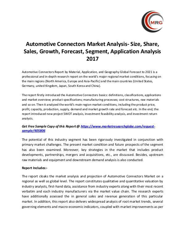 Automotive Connectors Market Analysis- Size, Share