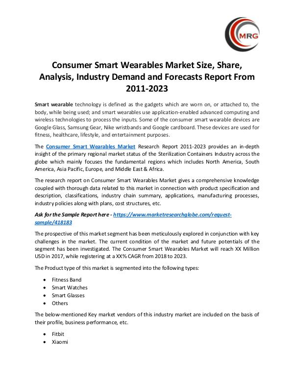 Consumer Smart Wearables Market Size, Share, Analy
