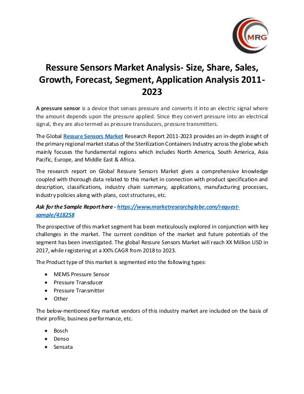Ressure Sensors Market Analysis- Size, Share, Sale
