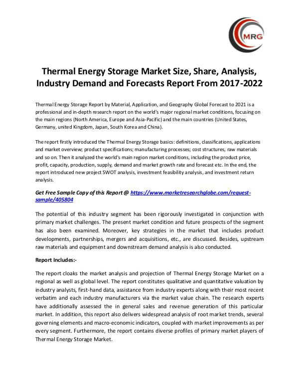 Thermal Energy Storage Market Size, Share, Analysi